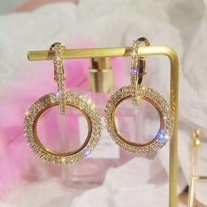 Gold Crystal Hoop Dangle Earrings